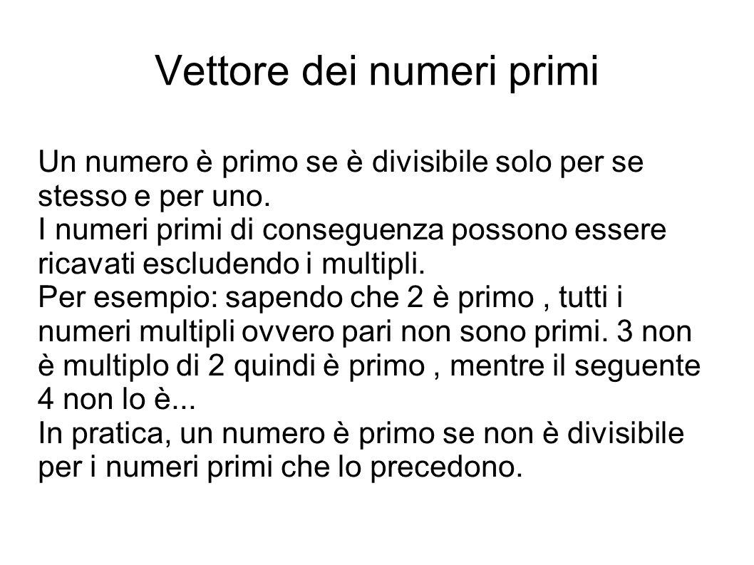 Vettore dei numeri primi