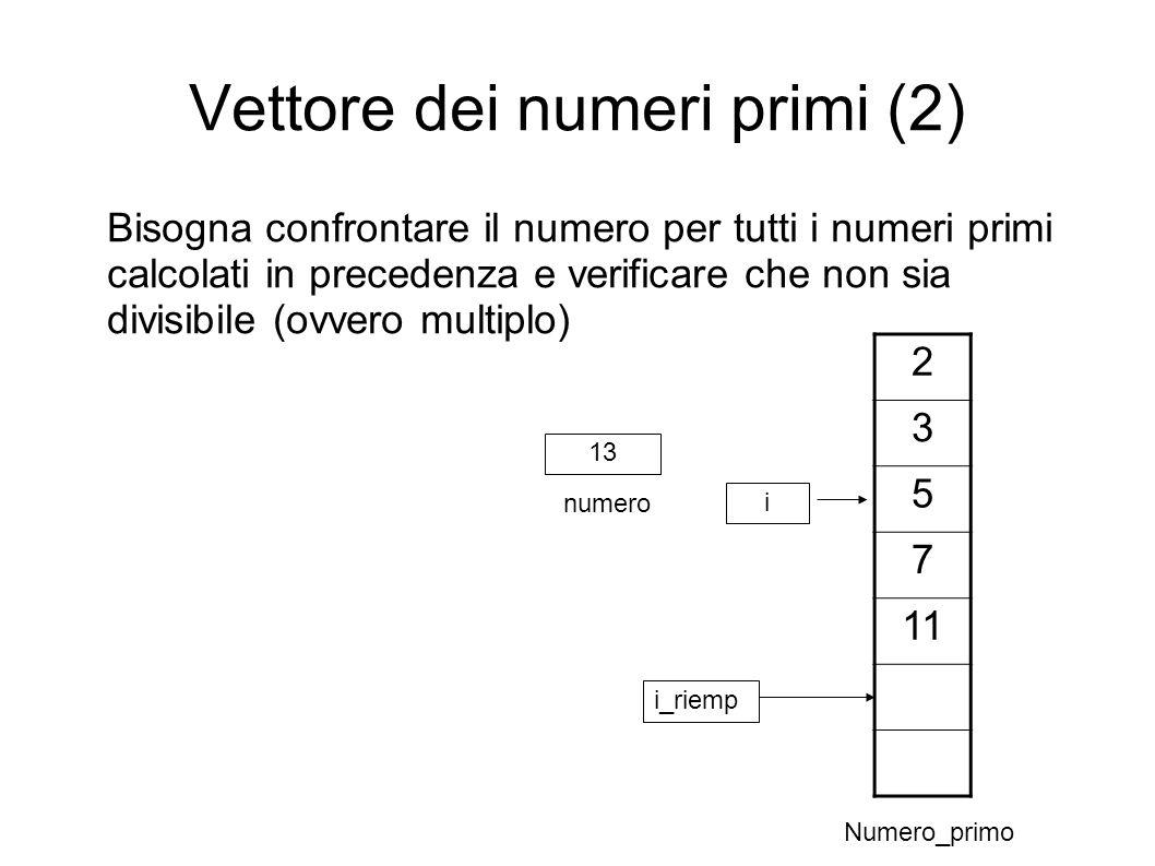 Vettore dei numeri primi (2)