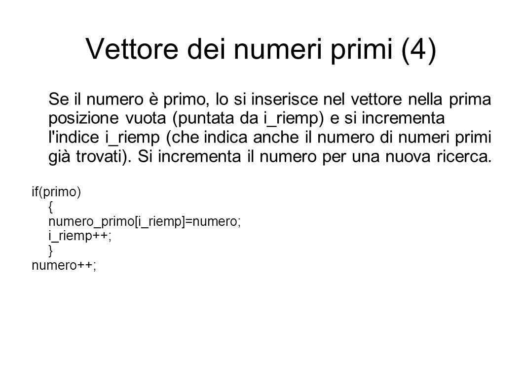 Vettore dei numeri primi (4)