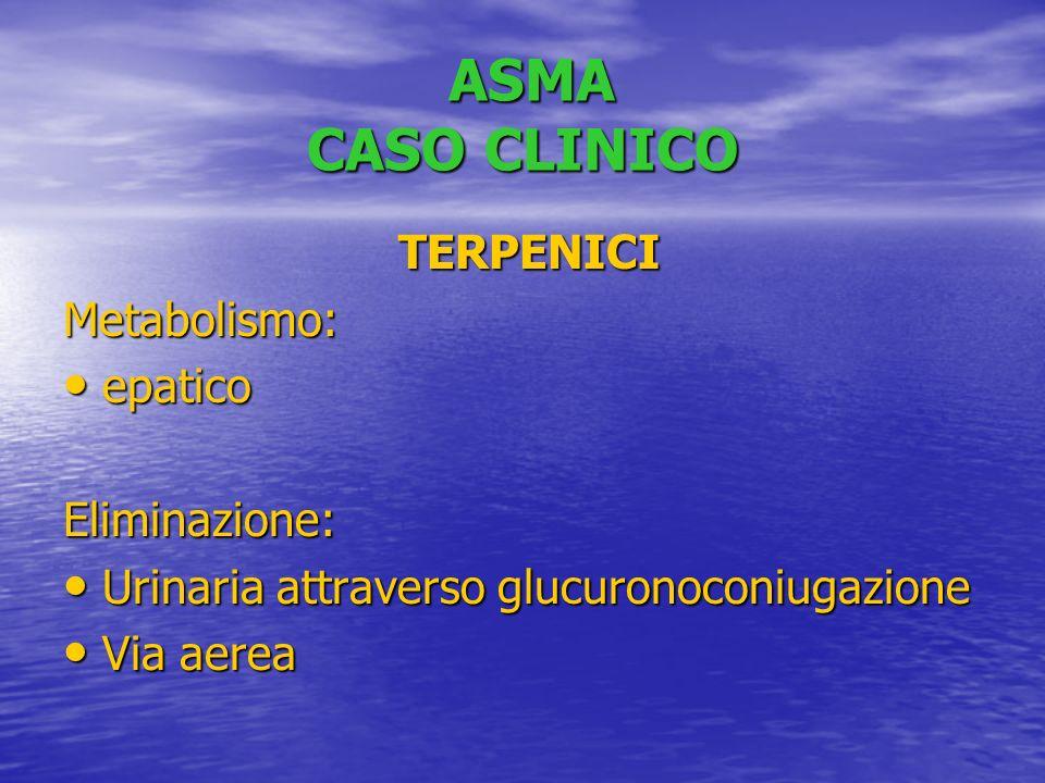 ASMA CASO CLINICO TERPENICI Metabolismo: epatico Eliminazione: