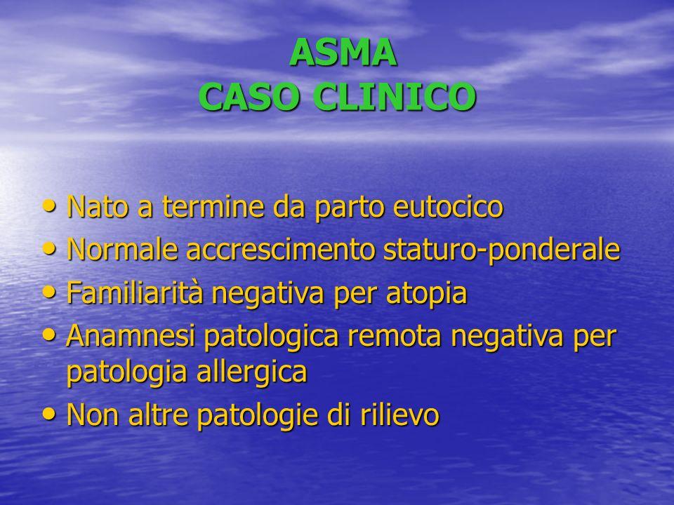 ASMA CASO CLINICO Nato a termine da parto eutocico