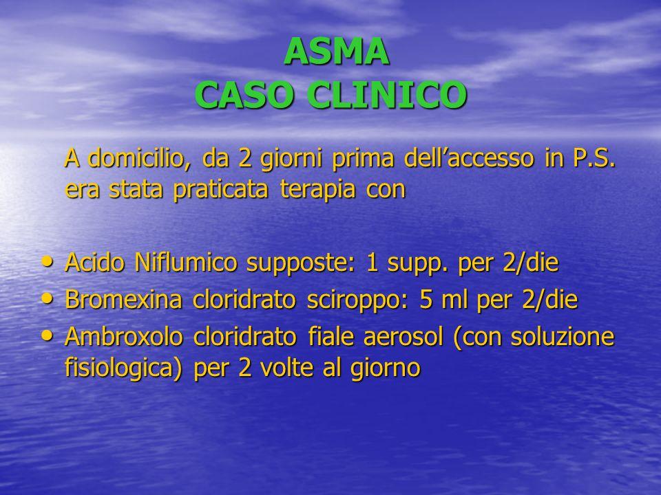 ASMA CASO CLINICO A domicilio, da 2 giorni prima dell'accesso in P.S. era stata praticata terapia con.
