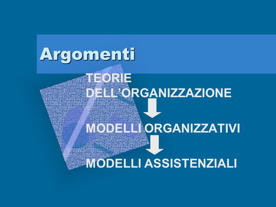 TEORIE DELL'ORGANIZZAZIONE MODELLI ORGANIZZATIVI MODELLI ASSISTENZIALI
