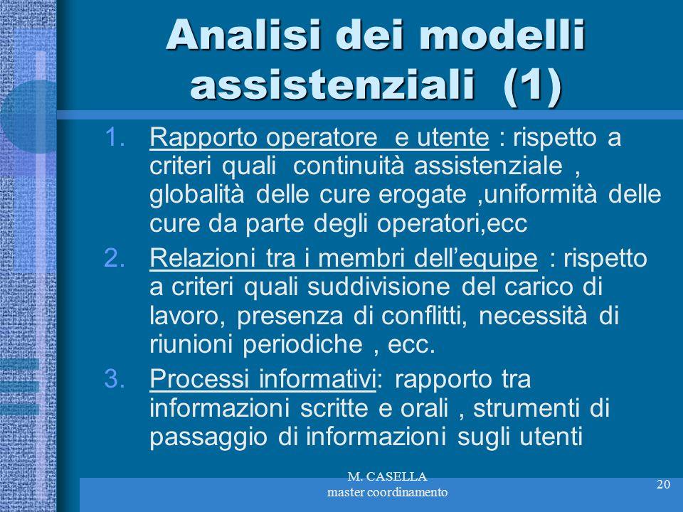 Analisi dei modelli assistenziali (1)