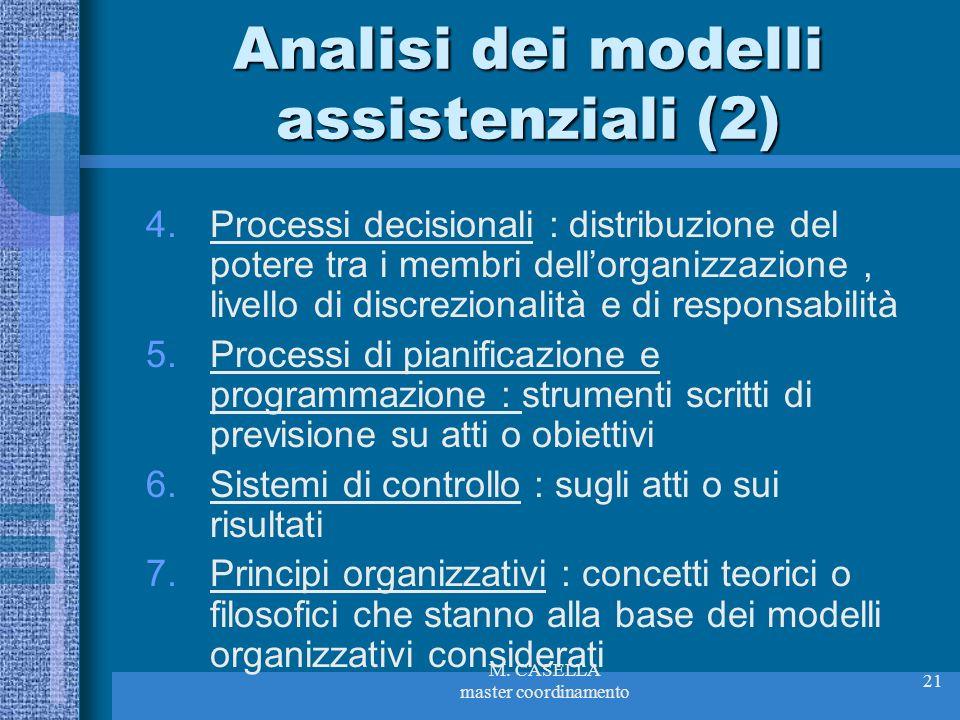 Analisi dei modelli assistenziali (2)