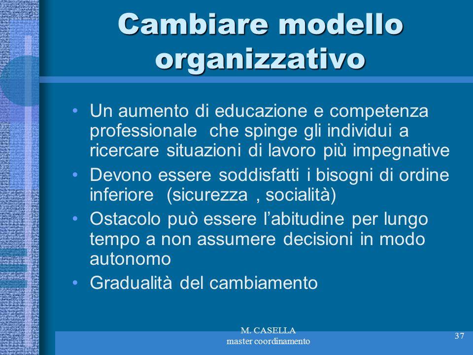 Cambiare modello organizzativo