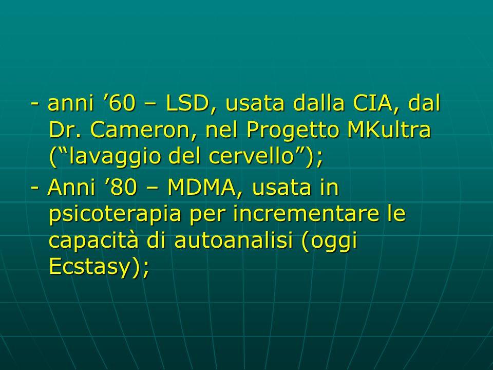 - anni '60 – LSD, usata dalla CIA, dal Dr