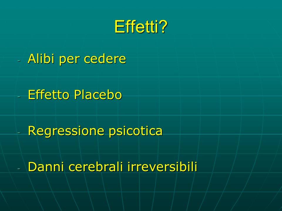 Effetti Alibi per cedere Effetto Placebo Regressione psicotica