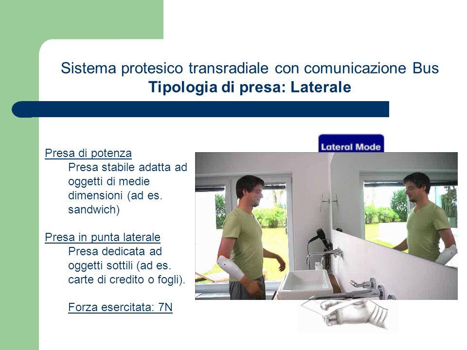 Sistema protesico transradiale con comunicazione Bus Tipologia di presa: Laterale