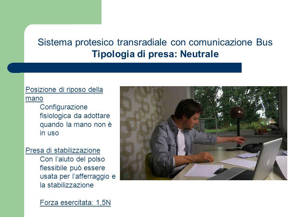 Sistema protesico transradiale con comunicazione Bus Tipologia di presa: Neutrale