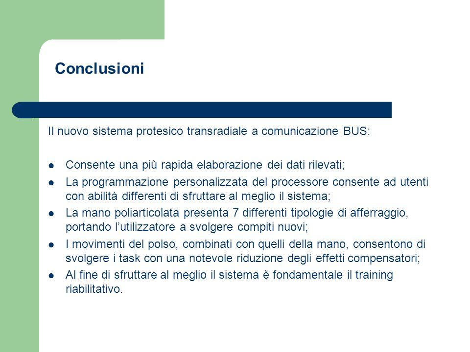 Conclusioni Il nuovo sistema protesico transradiale a comunicazione BUS: Consente una più rapida elaborazione dei dati rilevati;