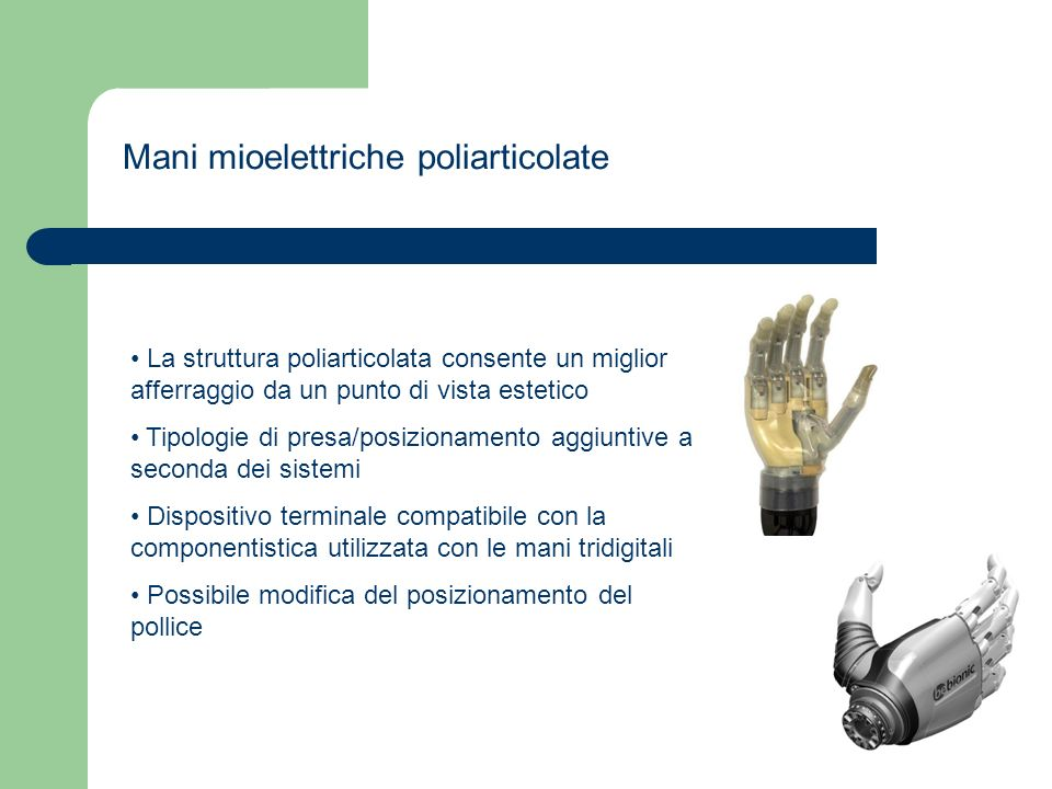 Mani mioelettriche poliarticolate
