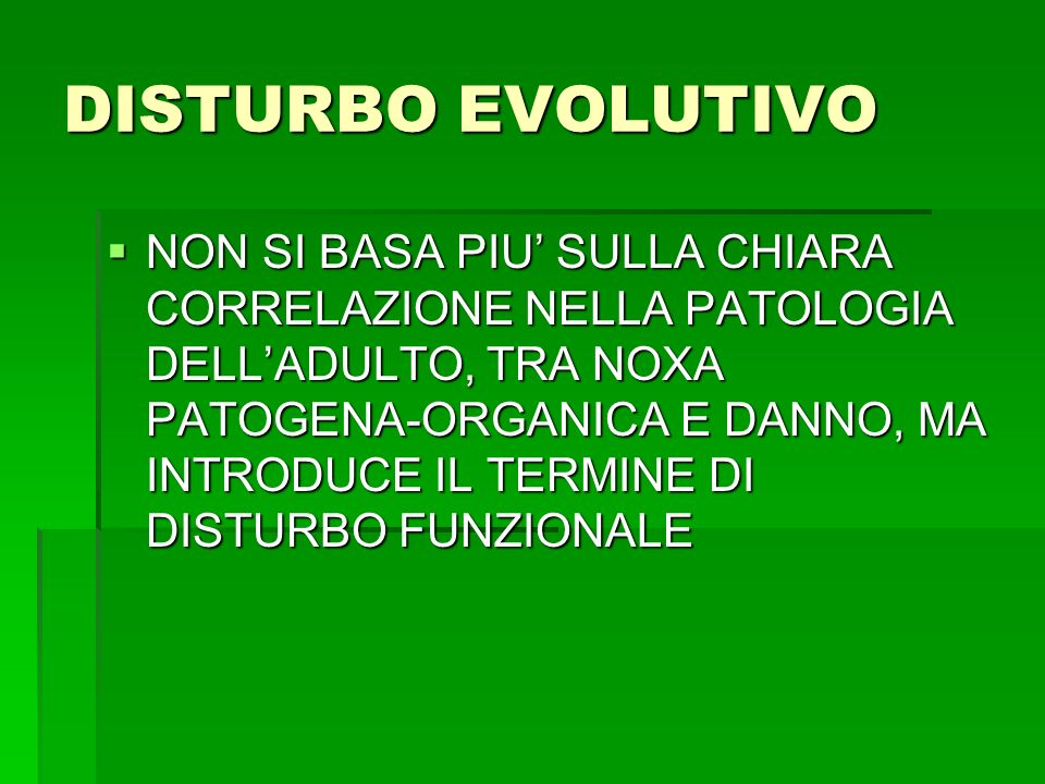 DISTURBO EVOLUTIVO