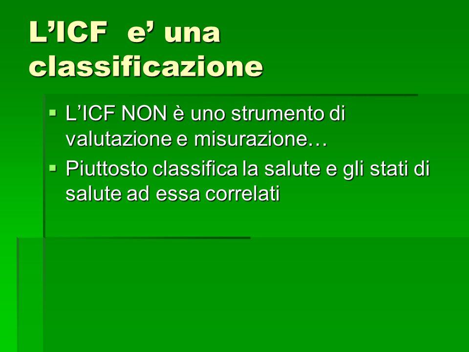 L'ICF e' una classificazione