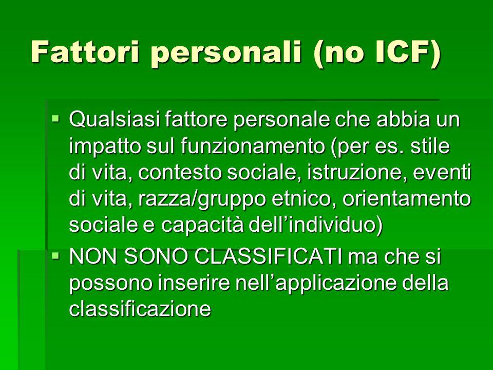 Fattori personali (no ICF)