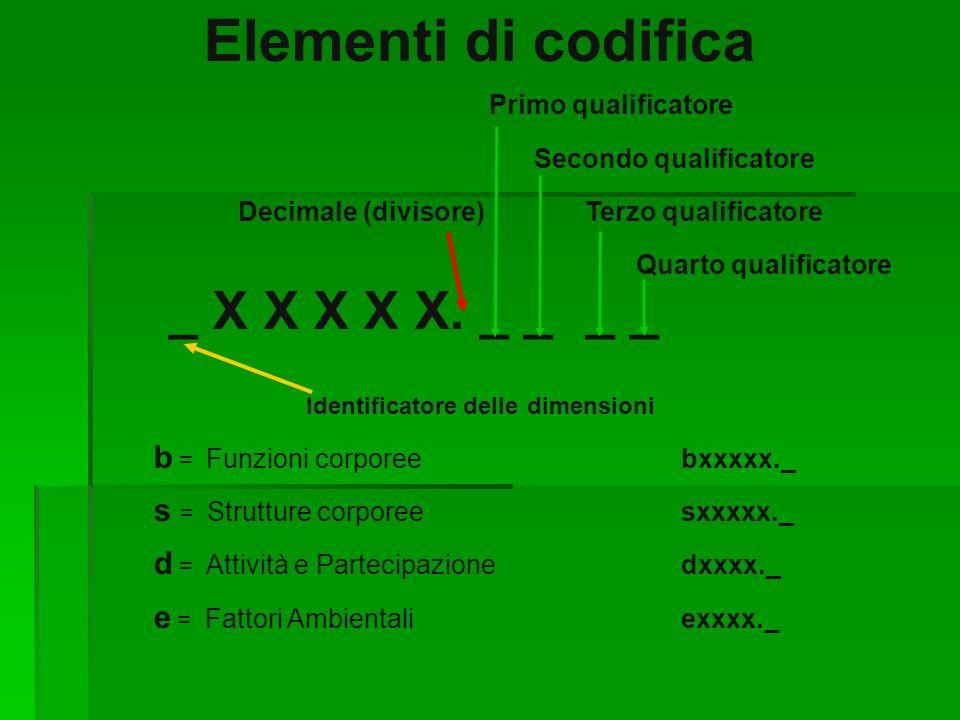 Elementi di codifica _ X X X X X. _ _ _ _ Primo qualificatore