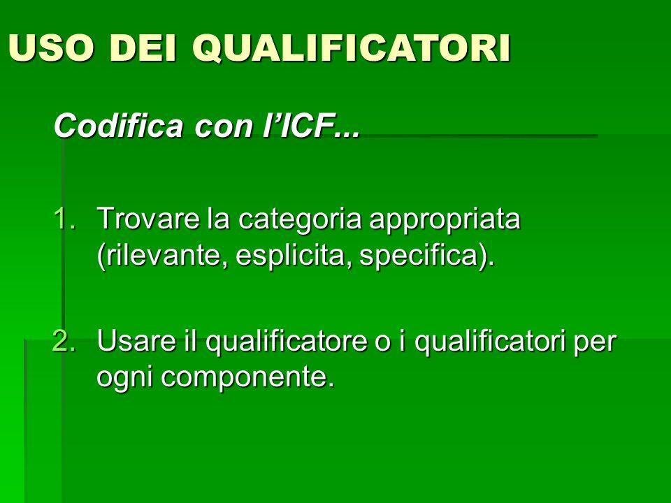 USO DEI QUALIFICATORICodifica con l'ICF... Trovare la categoria appropriata (rilevante, esplicita, specifica).