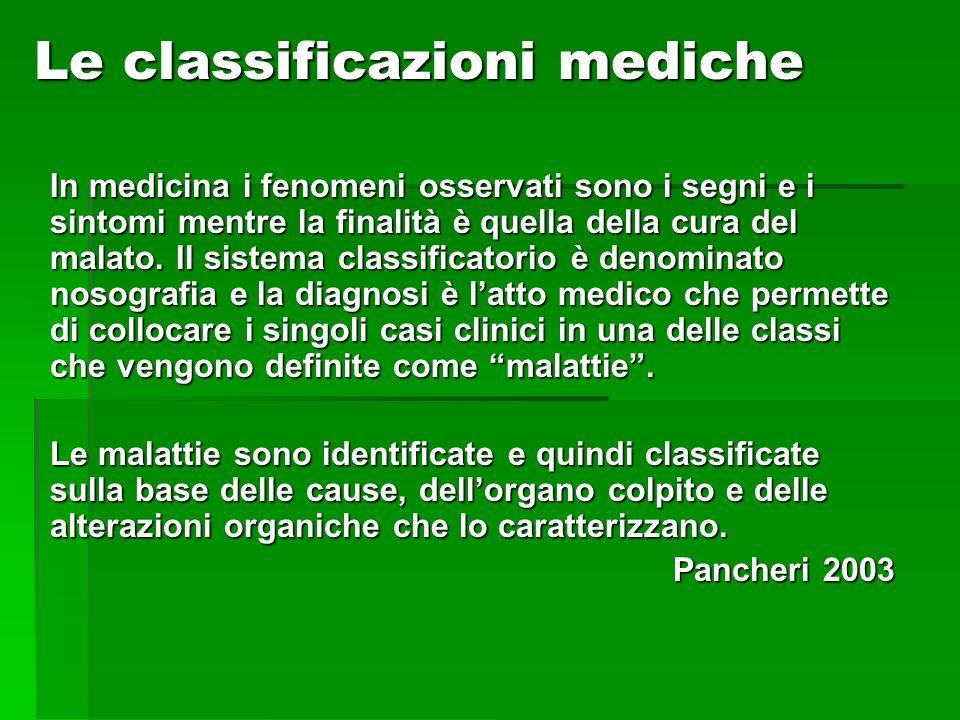 Le classificazioni mediche