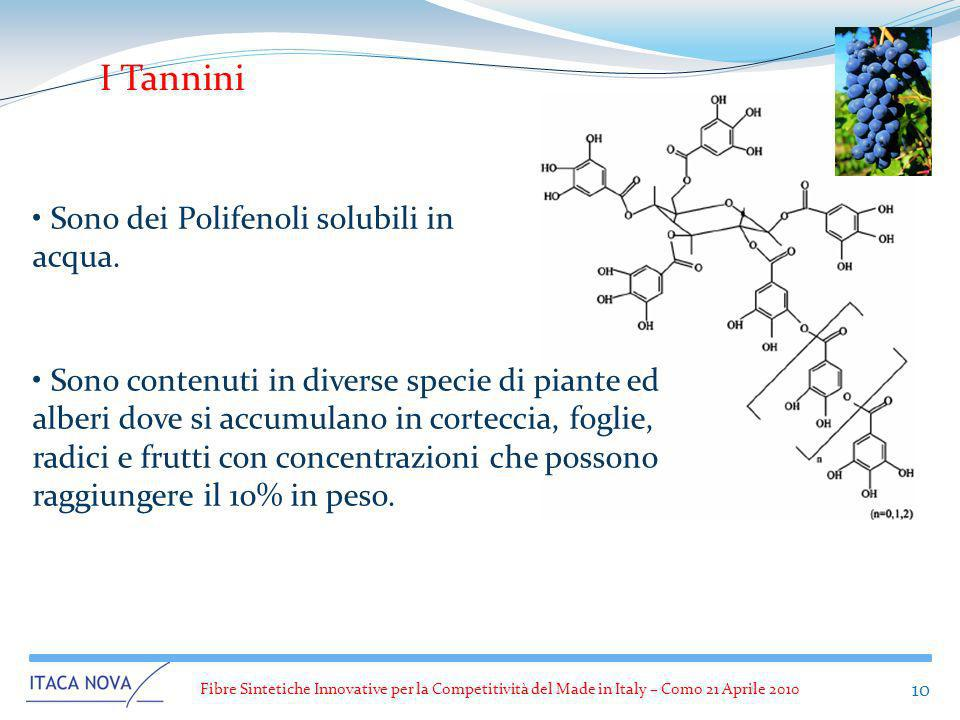 I Tannini Sono dei Polifenoli solubili in acqua.