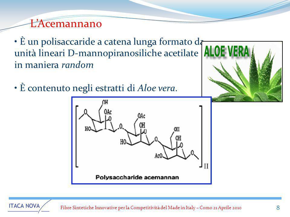 L'Acemannano È un polisaccaride a catena lunga formato da unità lineari D-mannopiranosiliche acetilate in maniera random.