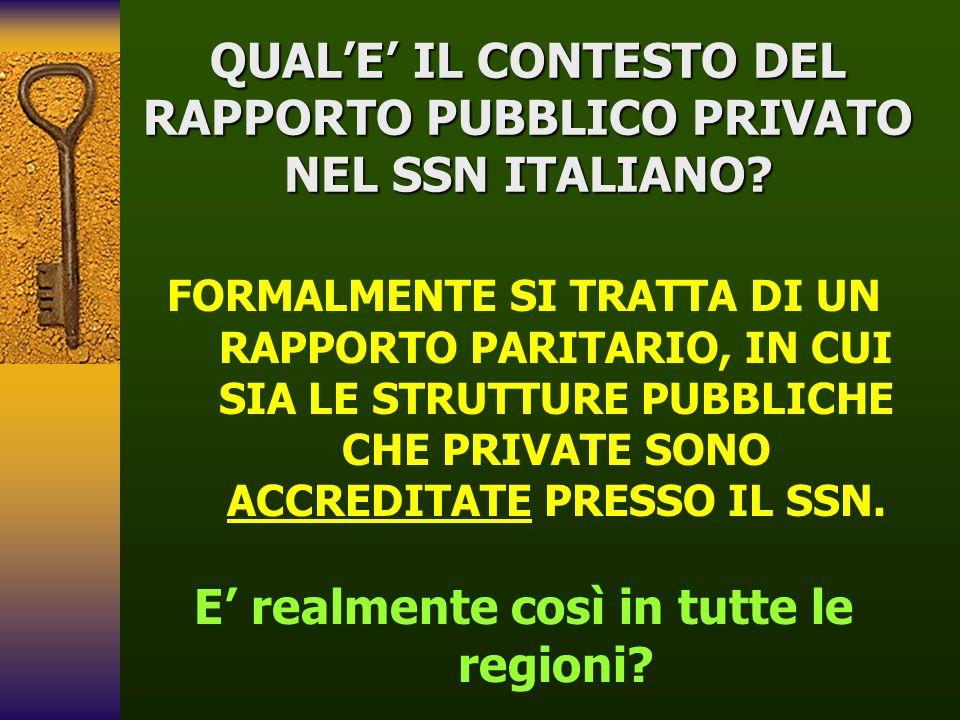 QUAL'E' IL CONTESTO DEL RAPPORTO PUBBLICO PRIVATO NEL SSN ITALIANO