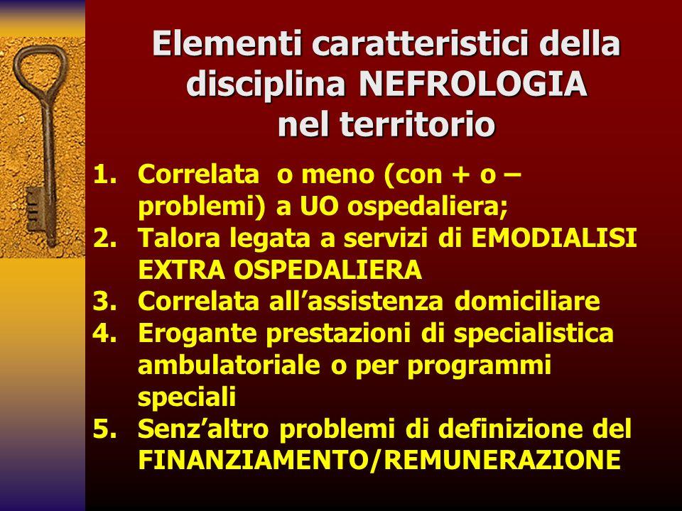 Elementi caratteristici della disciplina NEFROLOGIA