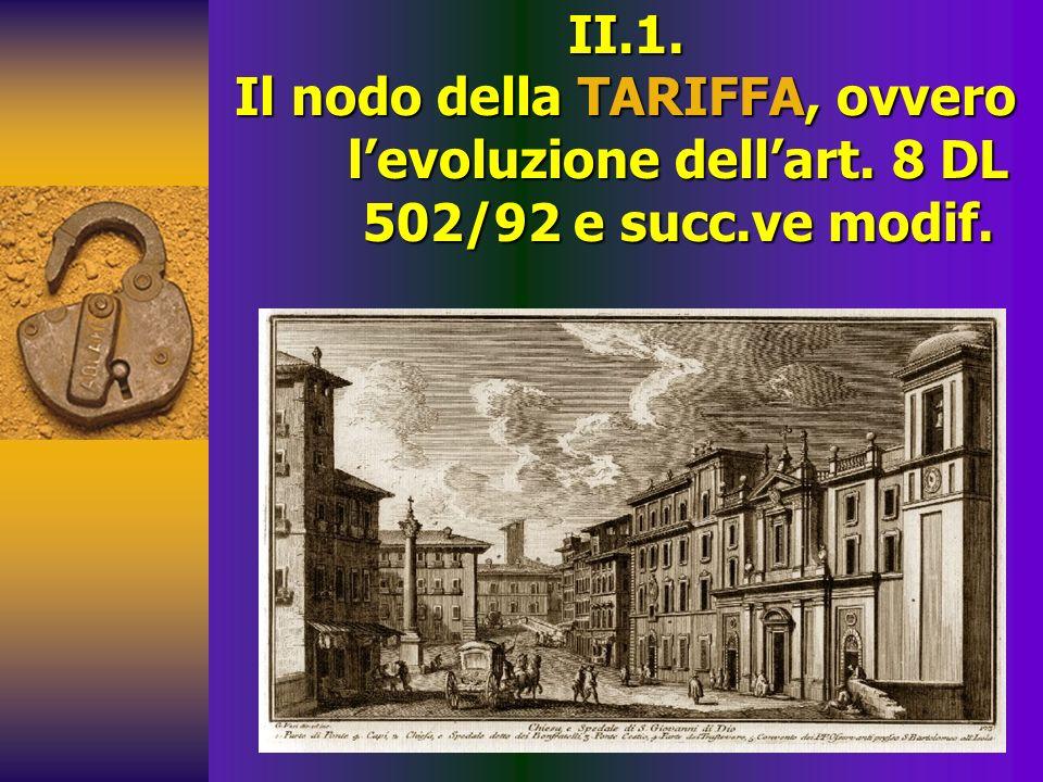25/03/2017 II.1. Il nodo della TARIFFA, ovvero l'evoluzione dell'art.
