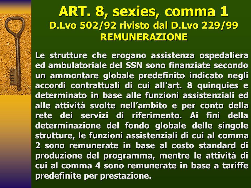 ART. 8, sexies, comma 1 D.Lvo 502/92 rivisto dal D.Lvo 229/99
