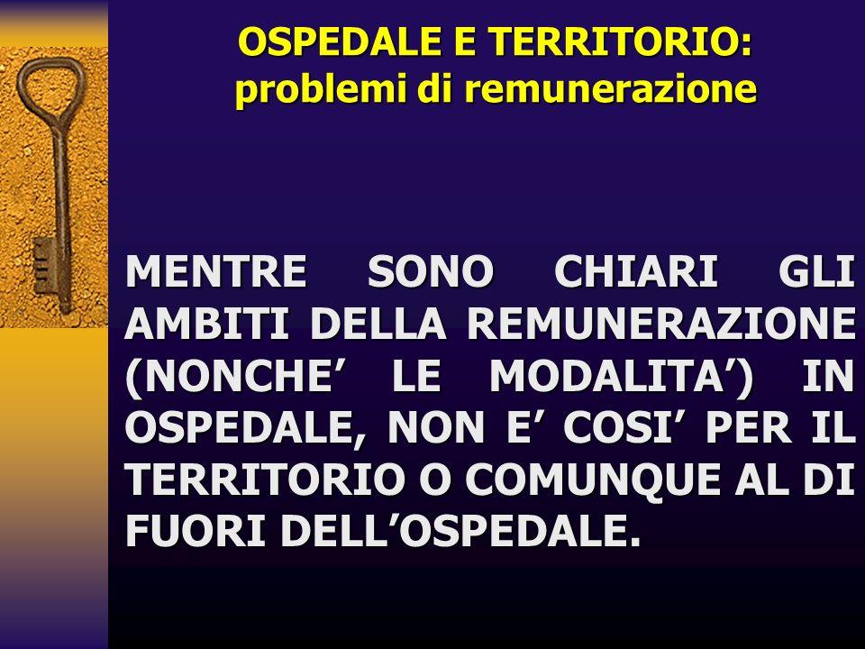 OSPEDALE E TERRITORIO: problemi di remunerazione