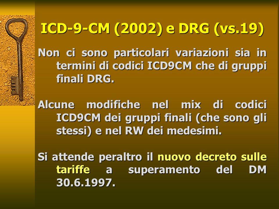 25/03/2017 ICD-9-CM (2002) e DRG (vs.19) Non ci sono particolari variazioni sia in termini di codici ICD9CM che di gruppi finali DRG.