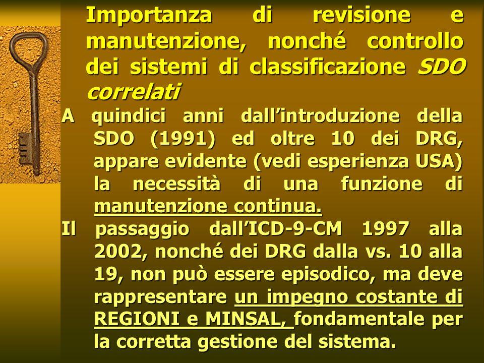 25/03/2017 Importanza di revisione e manutenzione, nonché controllo dei sistemi di classificazione SDO correlati.