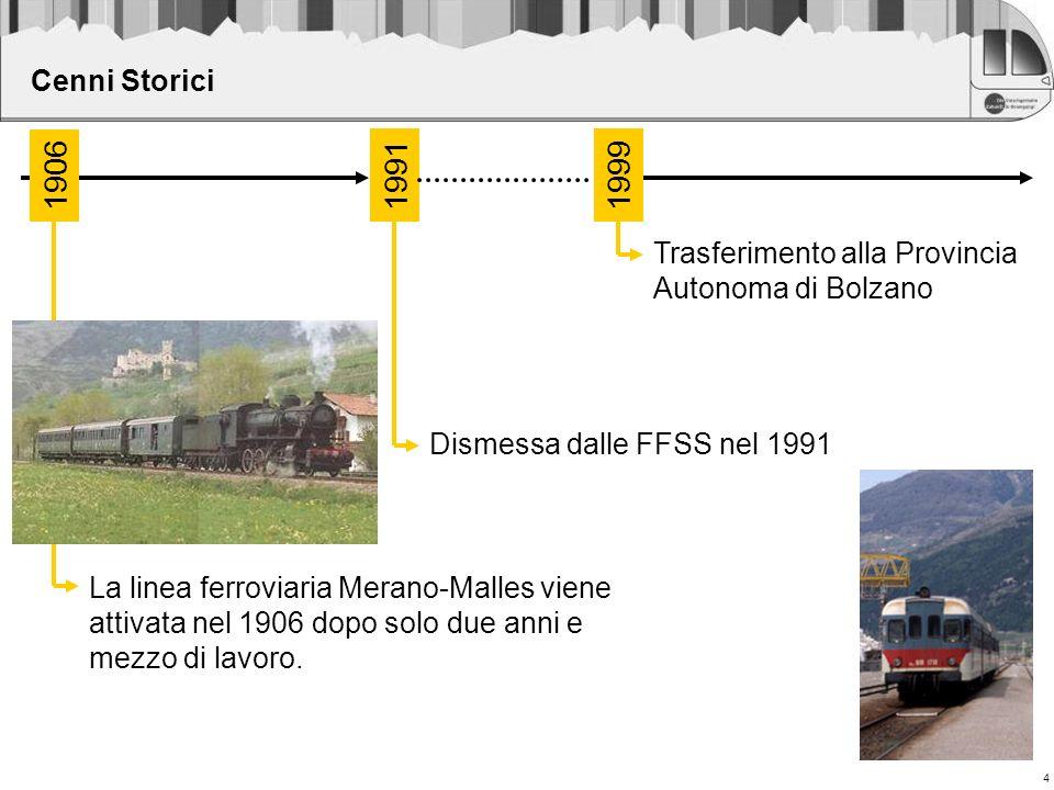 Cenni Storici 1906. 1991. 1999. Trasferimento alla Provincia Autonoma di Bolzano. Dismessa dalle FFSS nel 1991.