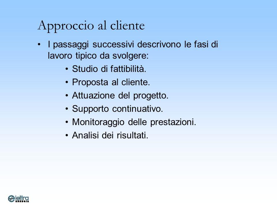 Approccio al cliente I passaggi successivi descrivono le fasi di lavoro tipico da svolgere: Studio di fattibilità.