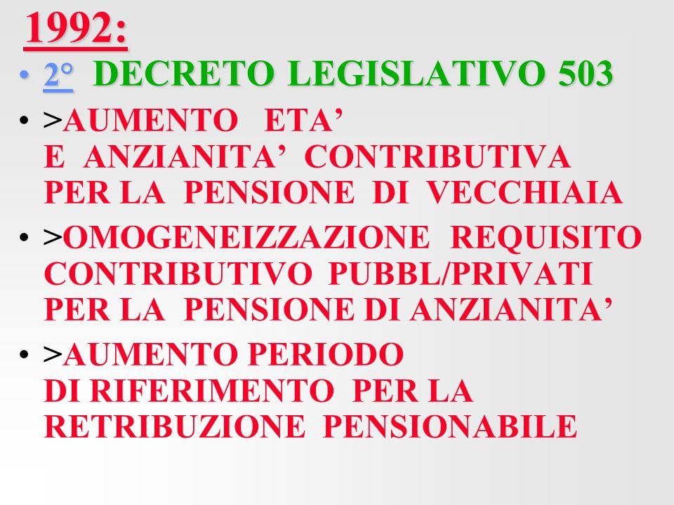 1992: 2° DECRETO LEGISLATIVO 503