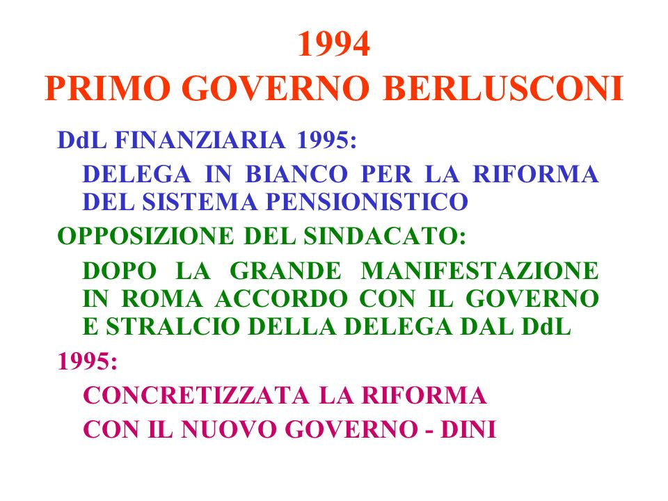 1994 PRIMO GOVERNO BERLUSCONI