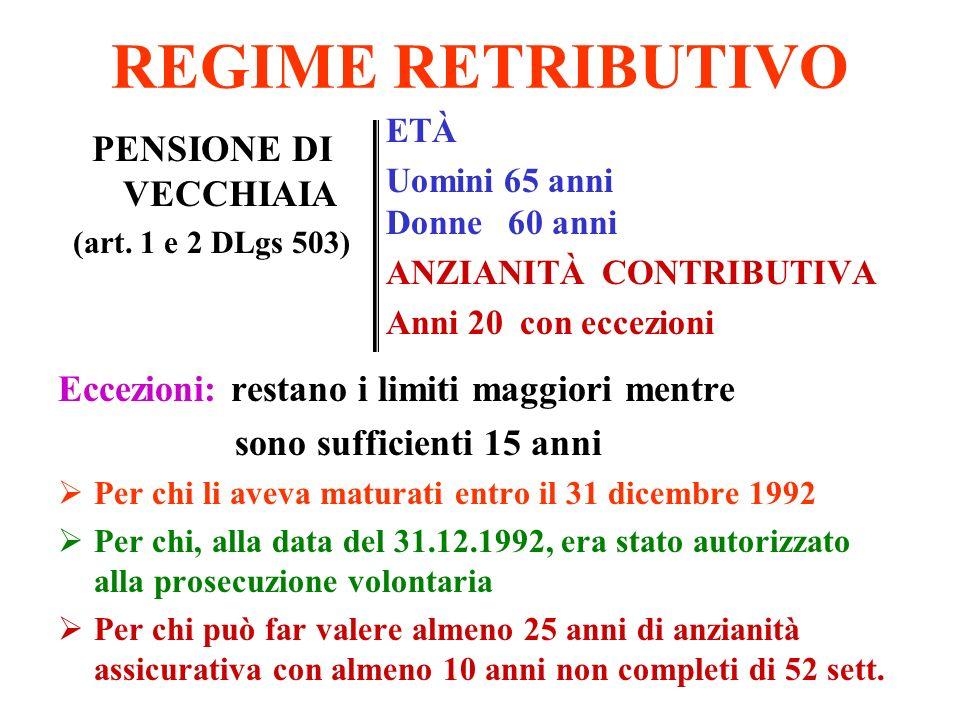 REGIME RETRIBUTIVO PENSIONE DI VECCHIAIA