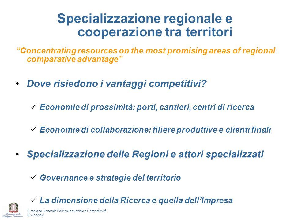 Specializzazione regionale e cooperazione tra territori