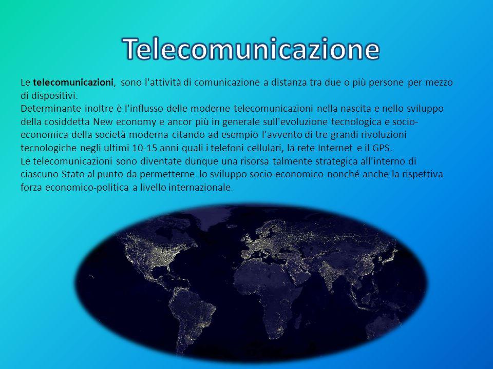 TelecomunicazioneLe telecomunicazioni, sono l attività di comunicazione a distanza tra due o più persone per mezzo di dispositivi.