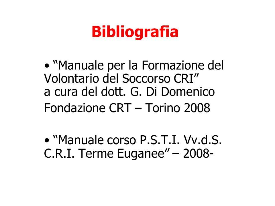 Bibliografia Manuale per la Formazione del Volontario del Soccorso CRI a cura del dott. G. Di Domenico.