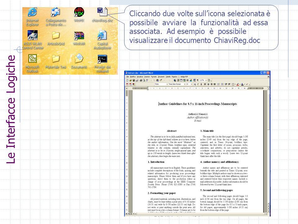 Cliccando due volte sull'icona selezionata è possibile avviare la funzionalità ad essa associata. Ad esempio è possibile visualizzare il documento ChiaviReg.doc