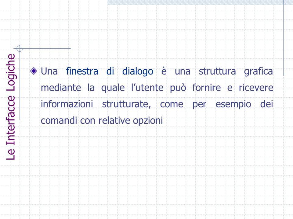 Una finestra di dialogo è una struttura grafica mediante la quale l'utente può fornire e ricevere informazioni strutturate, come per esempio dei comandi con relative opzioni