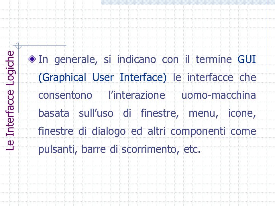 In generale, si indicano con il termine GUI (Graphical User Interface) le interfacce che consentono l'interazione uomo-macchina basata sull'uso di finestre, menu, icone, finestre di dialogo ed altri componenti come pulsanti, barre di scorrimento, etc.