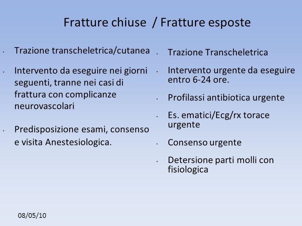 Fratture chiuse / Fratture esposte