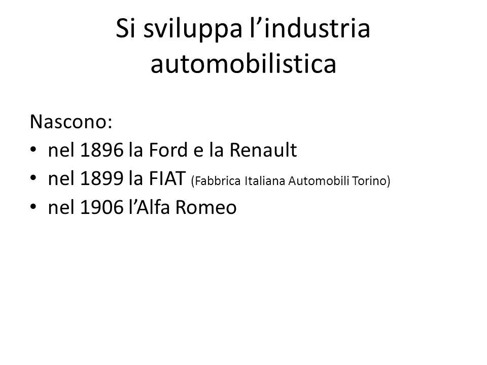 Si sviluppa l'industria automobilistica