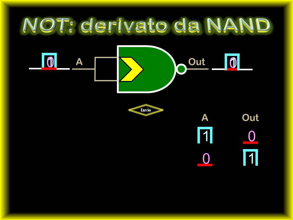 NOT: derivato da NAND Out A 1 1 Invio A Out 1 1