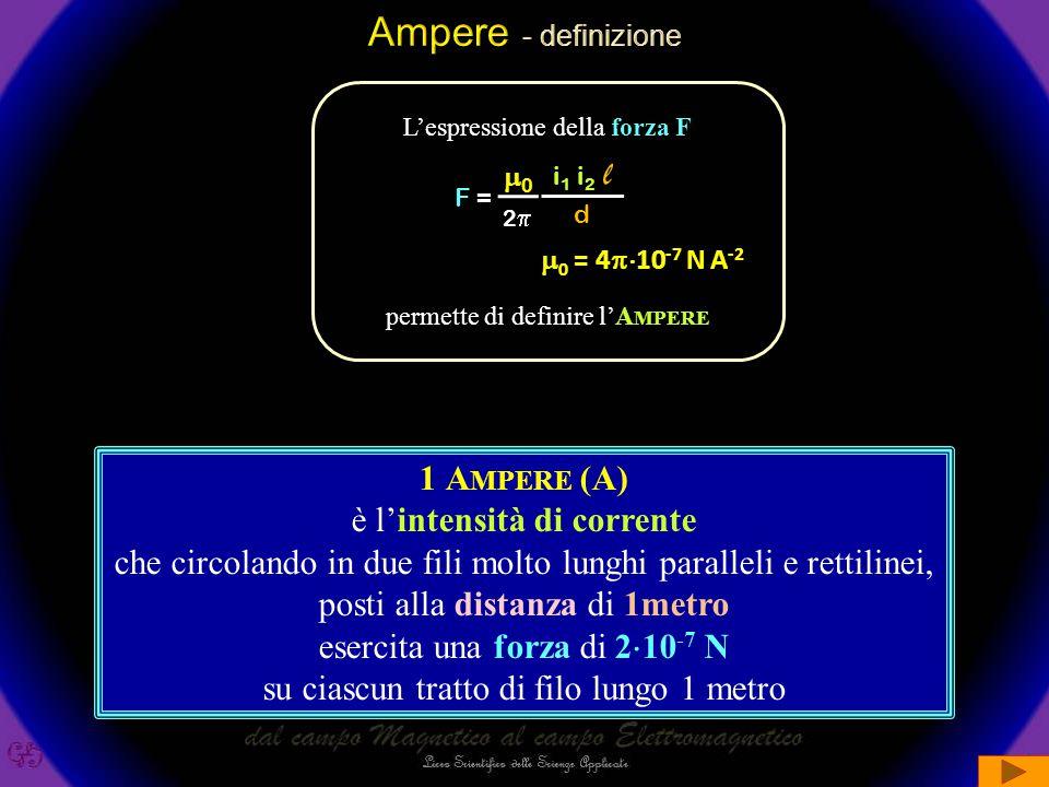 Ampere - definizione l 1 Ampere (A) è l'intensità di corrente