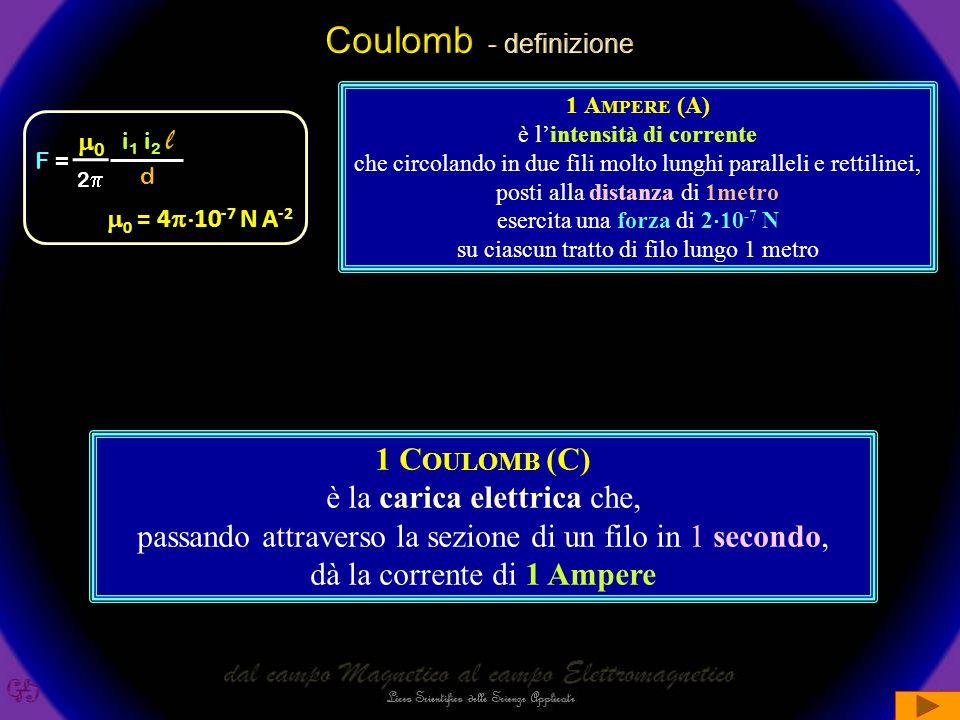 Coulomb - definizione l 1 Coulomb (C) è la carica elettrica che,