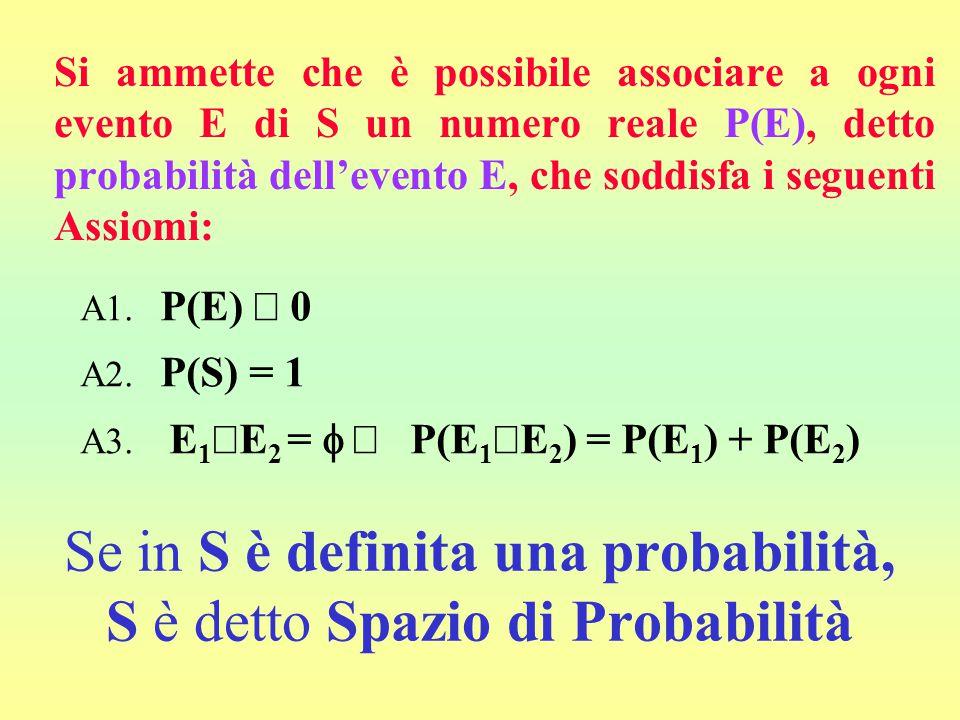 Se in S è definita una probabilità, S è detto Spazio di Probabilità