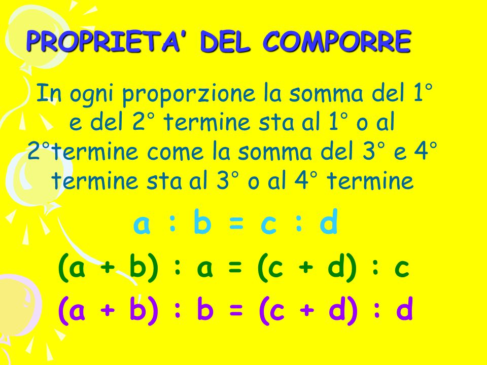 PROPRIETA' DEL COMPORRE