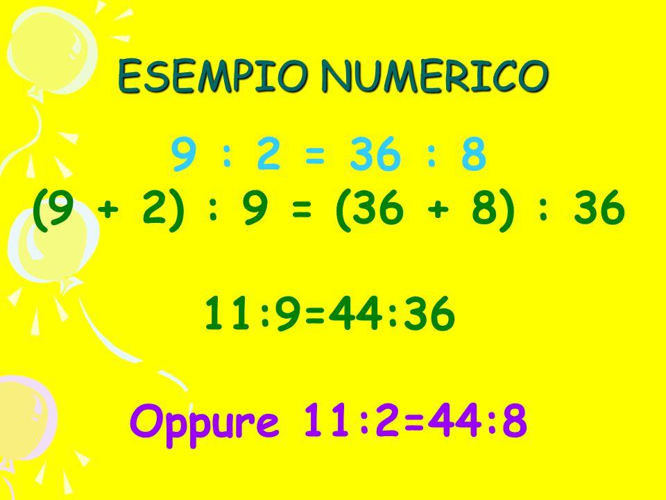 9 : 2 = 36 : 8 (9 + 2) : 9 = (36 + 8) : 36 11:9=44:36 Oppure 11:2=44:8